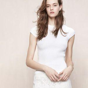 NWOT Maje Knit Ribbed Cream Top